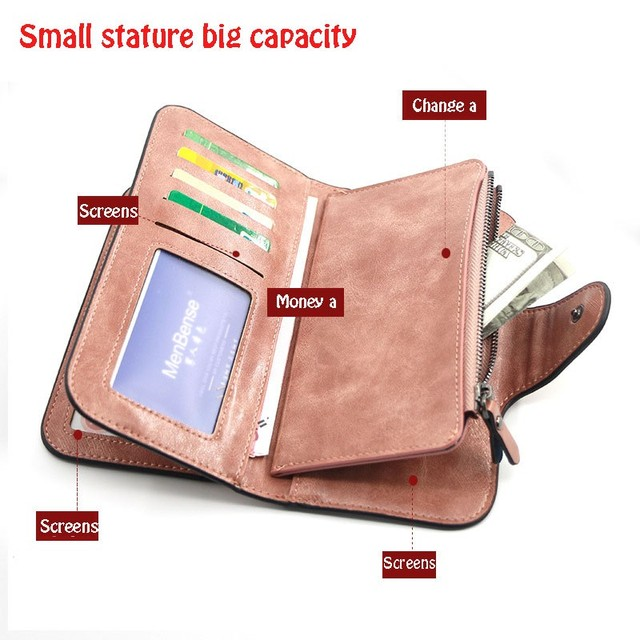 Women's wallet made of leather Wallets Three fold VINTAGE Womens purses mobile phone Purse Female Coin Purse Carteira Feminina 6