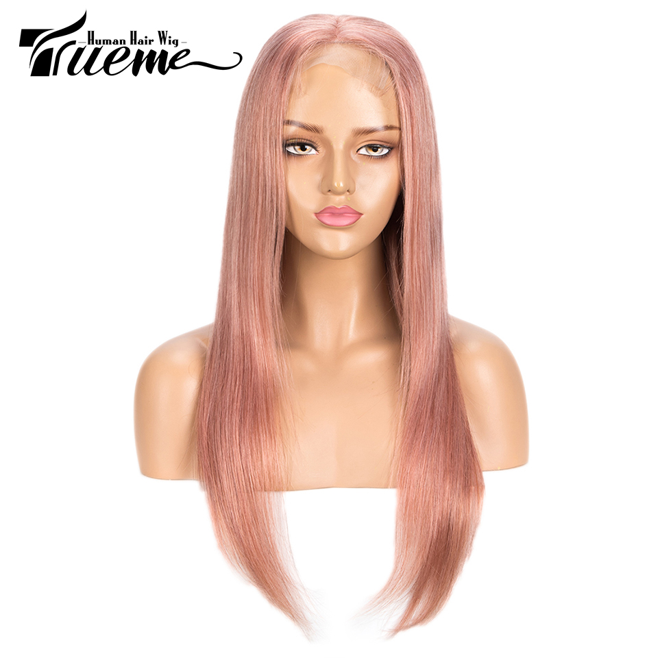 Trueme Silver Pink 4x4 Lace Closure Wig Pre Plucked With Baby Hair Brazilian Remy Straight Lace Front Human Hair Wigs For Women