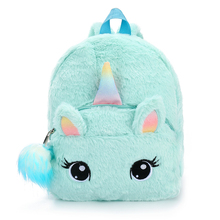New 2019 Girls Unicorn Backpack Children Schoolbags Cute Plush Mini Zipper Kindergarten Kids Book Bag Mochila