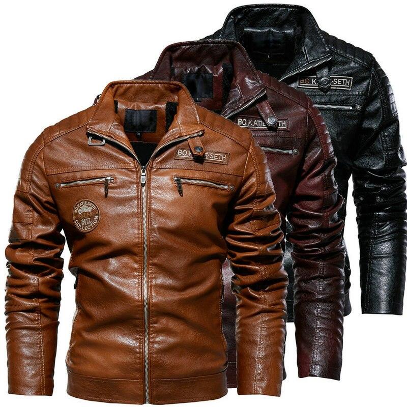 MEN'S Wear Leather Jacket New Style Men Clip PU Coat Europe And America Motorcycle Modern Tough Guy Plus Velvet Leather Coat Men