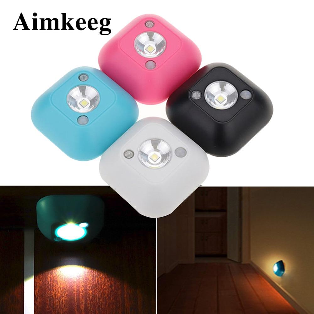 Aimkeeg Mini Wireless LED Sensor Night Light Lamp PIR Infrared Motion Activated Sensor Light For Wall Lamp Cabinet Stairs Light