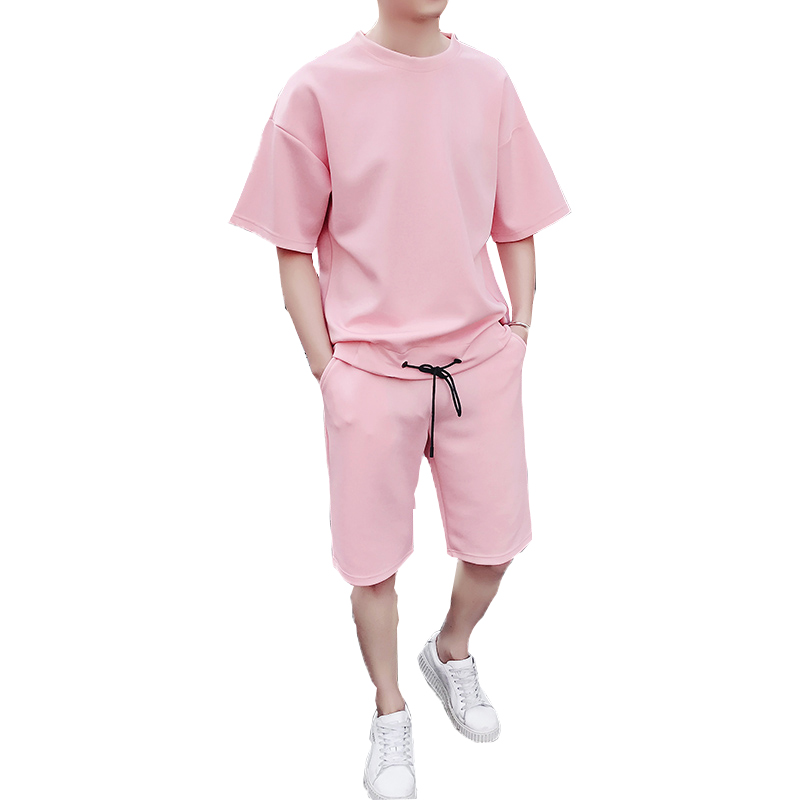2019 Male Casual Tshirts Workout Fitness Sets Jogger Suits For Men Men's Sets T Shirts+shorts Men Brand Two Piece Suit Tracksuit