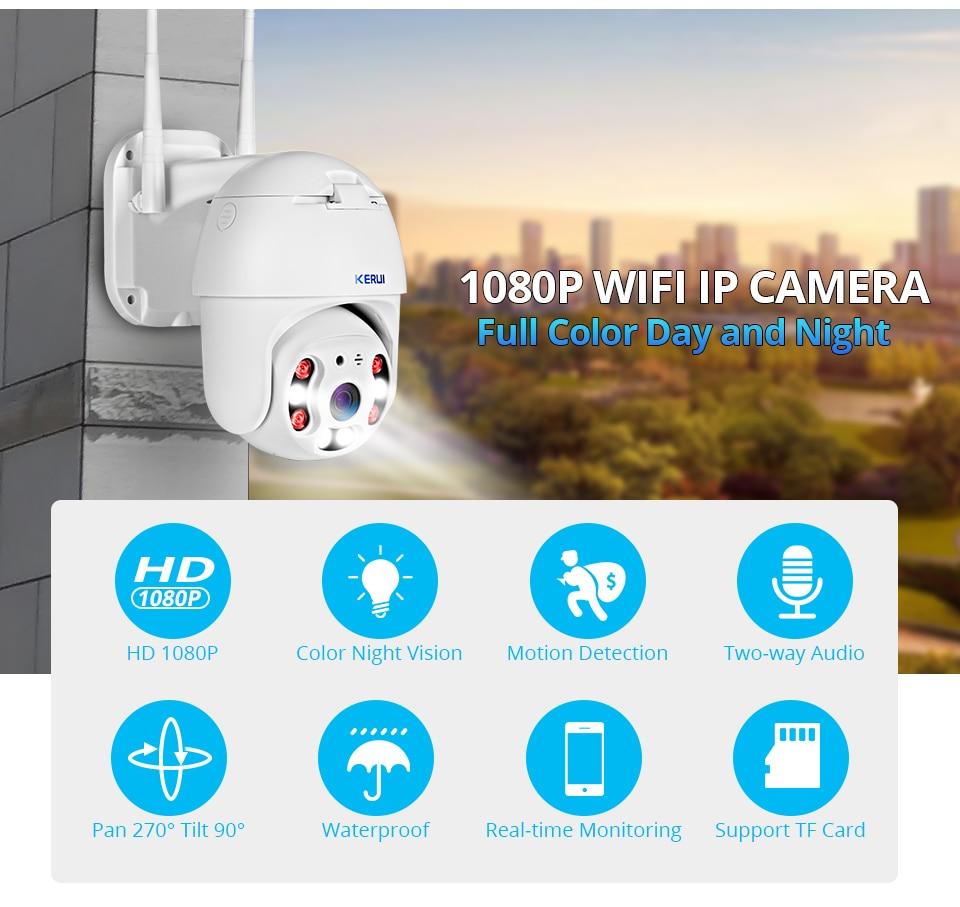 H4cae04471e9f4da4813f26bdd59636109 KERUI Outdoor Waterproof Wireless 1080P 2MP PTZ WiFi IP Camera Speed Dome Camera H.264+ IR Home Security CCTV Surveillance