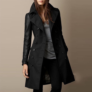 Spring Long  Jacket Women Soft Woolen Trench Fashion Female Motorcycle Coat Lady Goth Black Windbreaker Sexy Warm