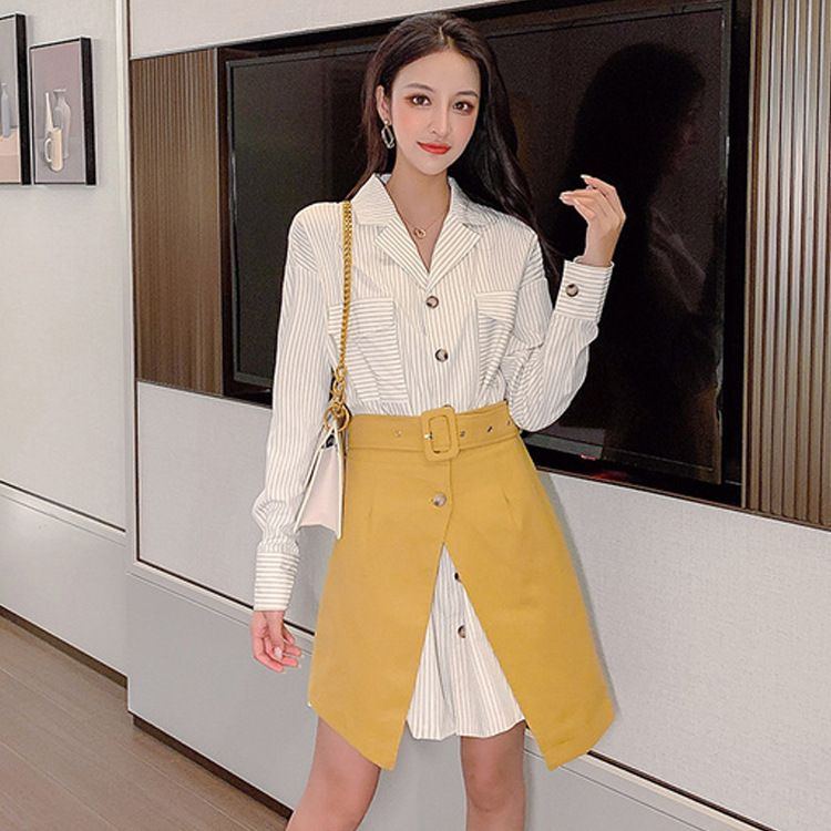 Skirt Women's 2019 New Style Autumn Korean-style High-waisted Western Style Slimming Two-Piece A- Line Short Skirt Shirt Two-Pie