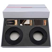 Hi-Tie 3+2 Luxury Gift Box set Belt for Men Formal Business Gold Buckles belt Automatic Metal Buckle Genuine Leather Black