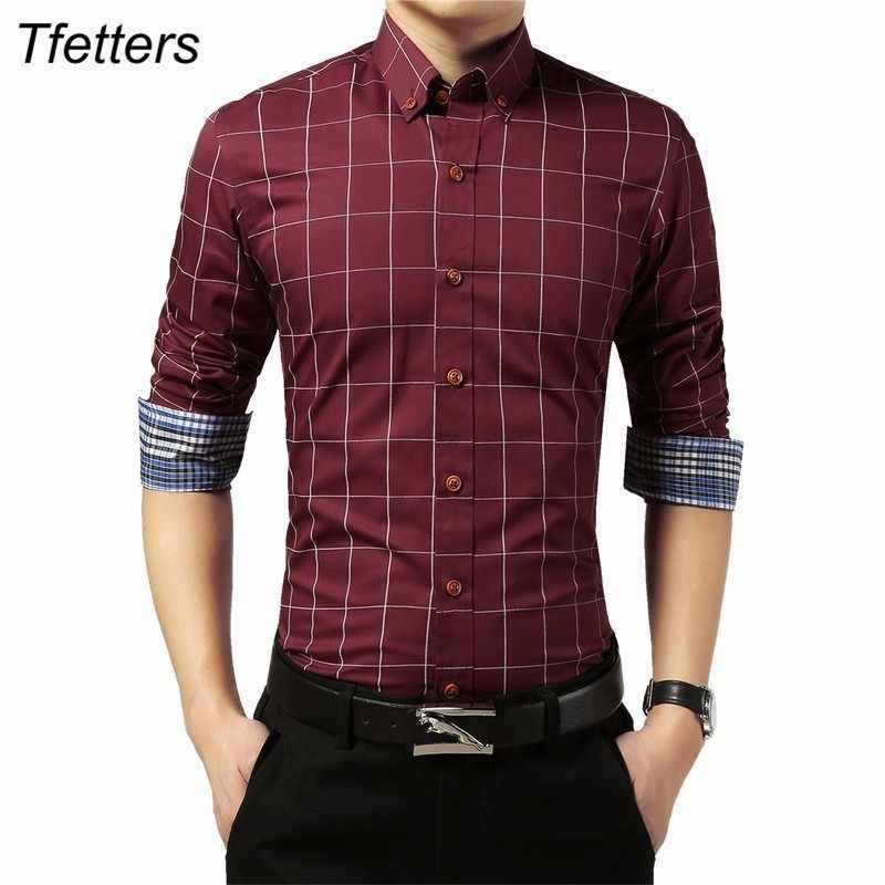 TFETTERS 브랜드 클래식 격자 무늬 남성 셔츠 긴 소매 캐주얼 셔츠는 남자를위한 칼라 플러스 크기 사회 복장을 거절