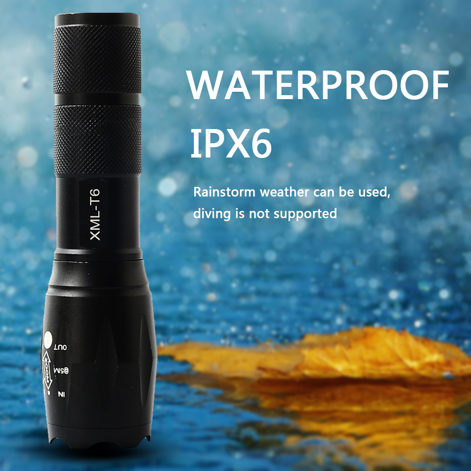 Led flashlight Ultra Bright torch XM-L T6 XM-L2-U3 Hunting Camping light 5 switch Modes Zoomable Bicycle Light use 18650 battery