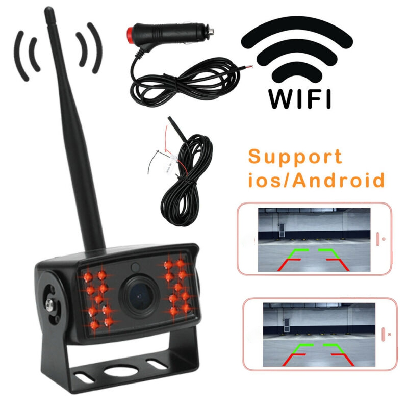 WiFi Wireless Car Rear View Cam IR Night Vision Bus Truck Reverse Camera