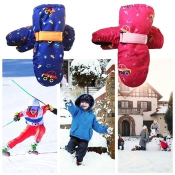1 para dzieci dzieci rękawice narciarskie zimowe śnieg Snowboard wiatroszczelna wodoodporna Outdoor Sports regulowany nadgarstek zagęścić Mitten tanie i dobre opinie CN (pochodzenie) COTTON Anti-slip PU + Cotton + Cashmere Fleece Cartoon Unisex 11UC2SS902034-DB 20cm 7 87in