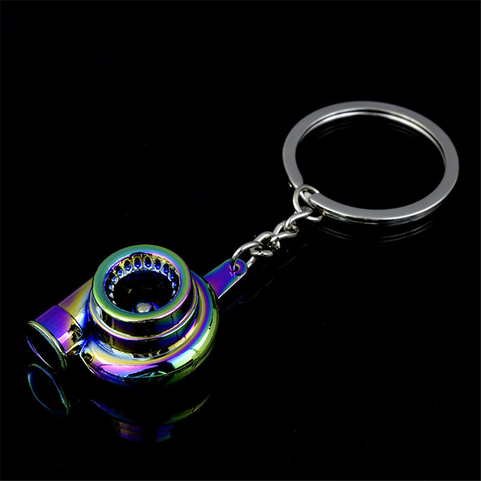 Universal JDM Black Turbo Charger Bearing Spinning Turbine Key Chain Ring FOB