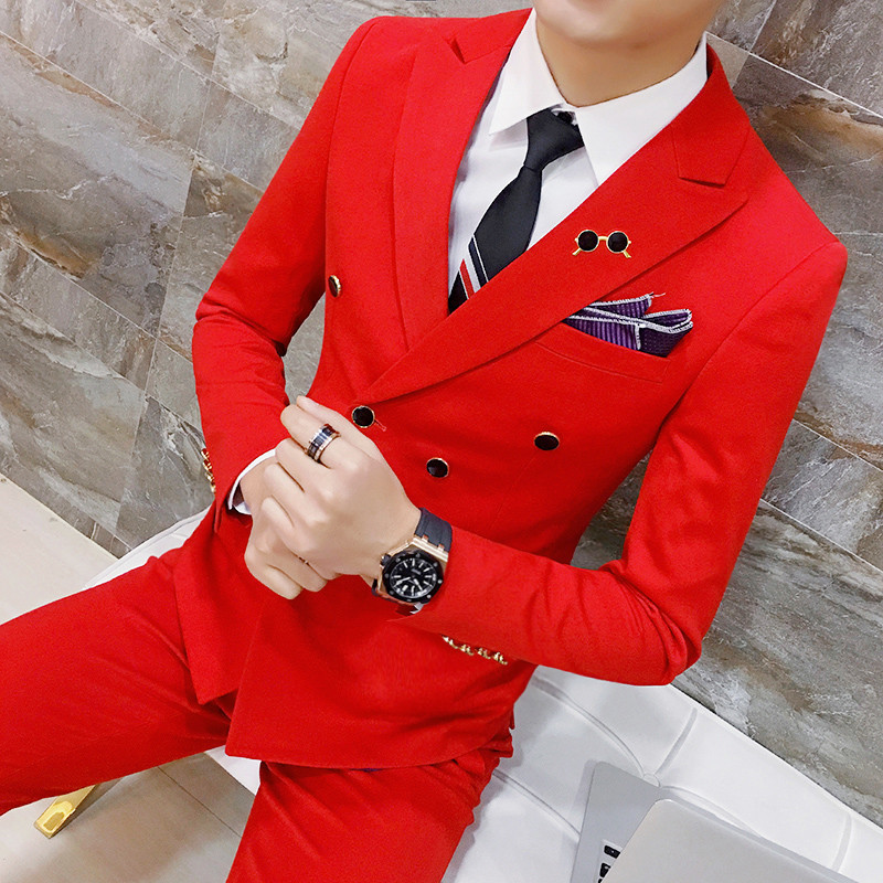 Red (Jackets+Pants) Solid Color Double Breasted Formal Business Mens Suit Groom Wedding Suits For Men 2 Pieces Party Prom Suit
