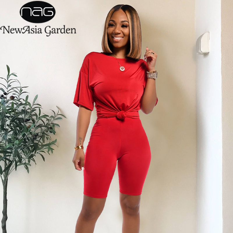 NewAsia Solid Tracksuit 2 Piece Set Women Oversized T Shirts And Shorts Set Jogging Ladies Tracksuit Summer Matching Set Outfits