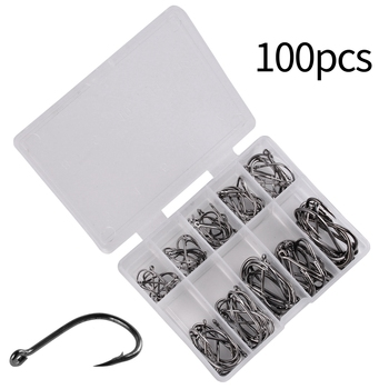 100Pcs/box Fishing Hooks Stainless Steel Barbed Assorted