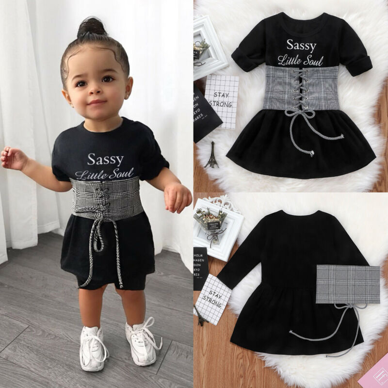 Toddler Baby Girls Clothes Sassy Little Soul Dress Lace Up Vest Party Outfits