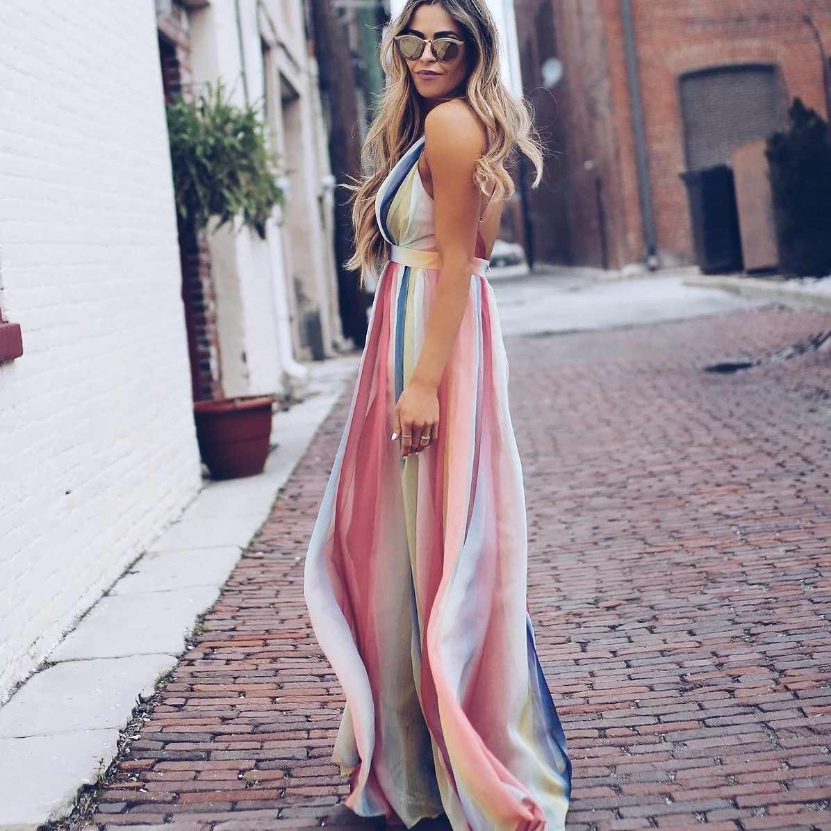 Sexy Women Lady Clothes Dresses Summer Boho Long Maxi Party Beach Long Sleeve Casual Chiffon Dress