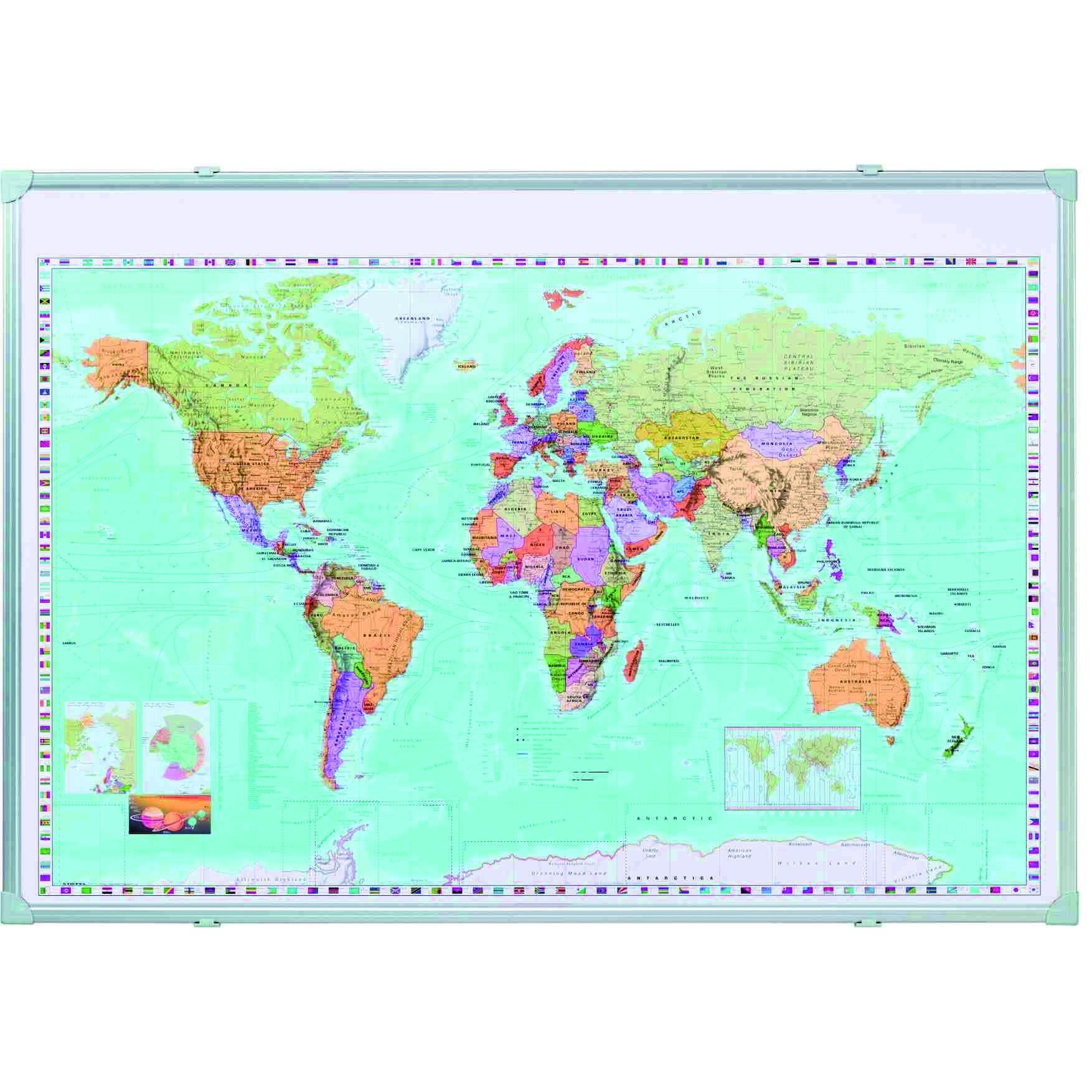 MAP FOR THUMBTACKS WORLD KA600WP 100x140cm