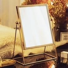 Espejo para maquillaje de metal de rotación de 360 grados espejo de vanidad Vintage de un solo lado dorado