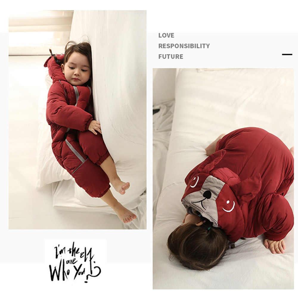 CYSINCOS Baby Boy Girls  Winter New Thicken Coat Toddler Cotton Warm Romper Cute Newborn Infant Hooded Jumpsuit Jacket Outerwear
