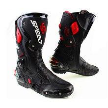 Bottes de moto SPEED pour hommes, en cuir, en microfibre, pour course de vitesse, pour motocross, à hauteur des genoux, pour bateaux à moteur