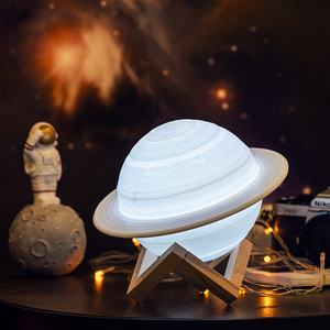 Image 3 - 2019 NEW Dropship Rechargeable 3D Print Saturn Lamp Like Moon Lamp Night Light For Moon light with 2Colors 16Colors Remote Gifts