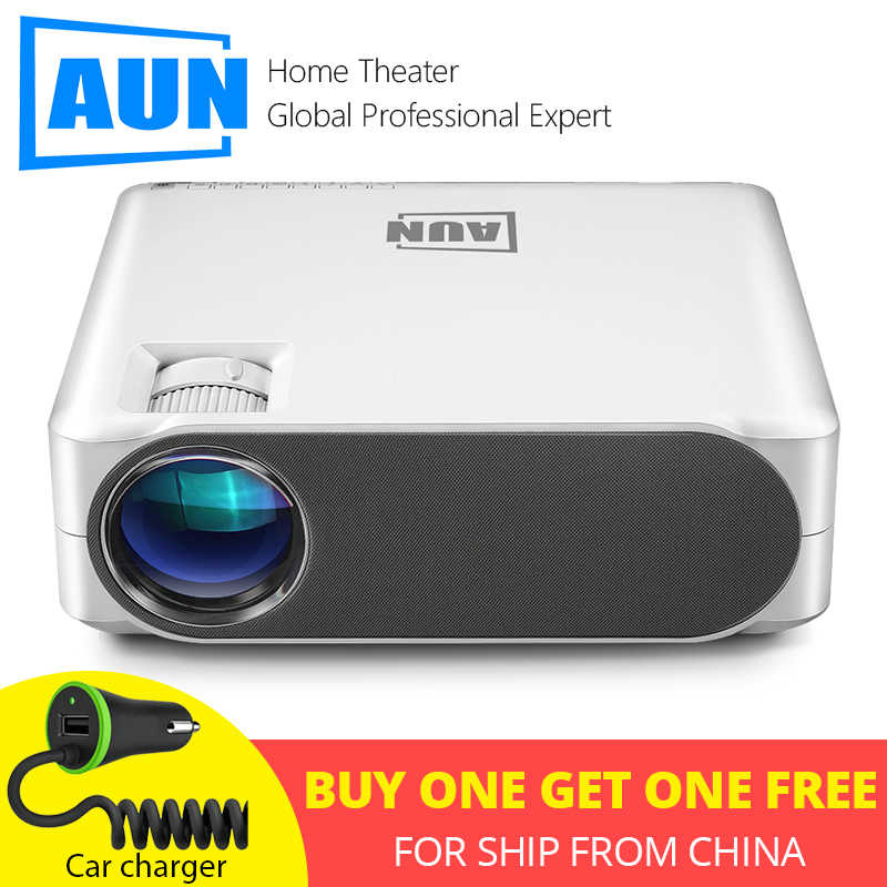 AUN Penuh HD Proyektor AKEY6S, 1920*1080P 6,800 Lumens, Android 6.0 WIFI Video Beamer, LED Mini Projector untuk 4K 3D Home Cinema.