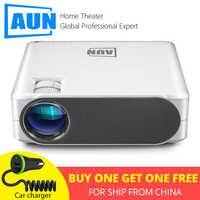 AUN projecteur Full HD AKEY6S, 1920*1080P, 6,800 Lumens, Android 6.0 WIFI vidéoprojecteur, MINI projecteur LED pour 4K 3D Home Cinema.