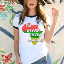 Africa Map Graphic T Shirt for Women Harajuku African Heritage Female T-shirts Afro Word Print White tshirt Fashion Clothes Tops