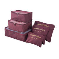 Travel Pouch Bags Packing Cube 6pcs/set bags for travel accessories Luggage Solid Portable Organizer Travel accessories bag