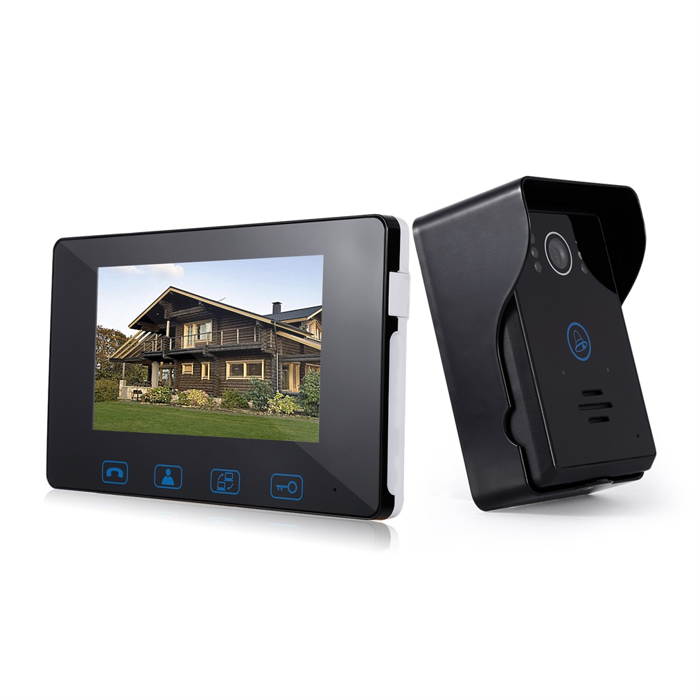 Video Doorphone 2-Wires Video Intercom System 7-Inch Color Indoor Monitor And HD Camera Outdoor Video Doorbell With 49ft Cable