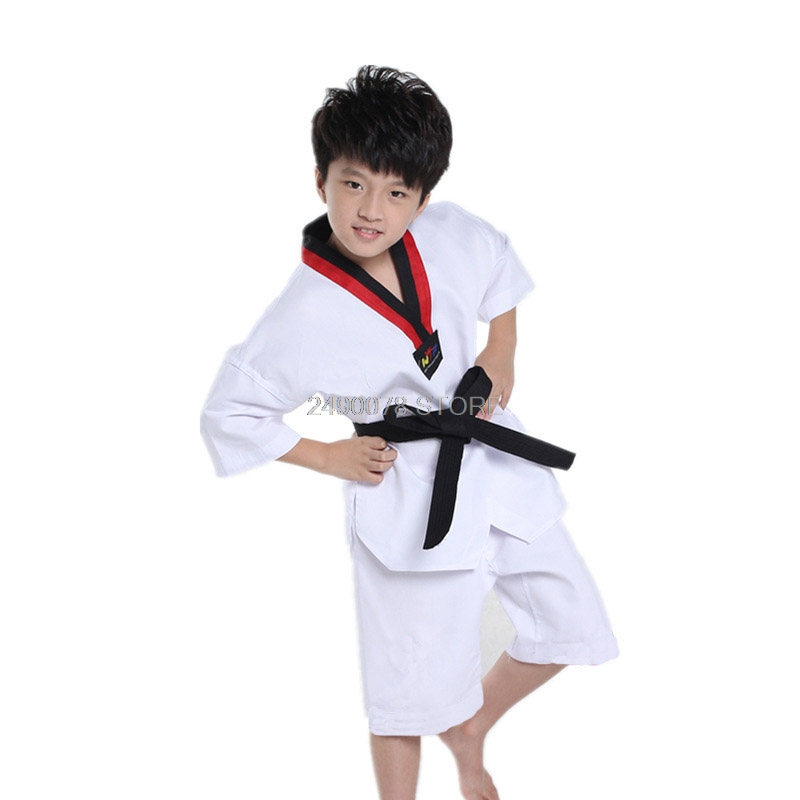 Children Kimono Judo Kickboxing Practice Costume White Kids Boys Girls Taekwondo Suit Karate Tae Kwon Do Clothes F106 2