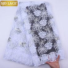 Sjd rendas lantejoulas design africano tecido de renda alta qualidade francês tule rendas tecido bordado leite laços para o vestido casamento a2041