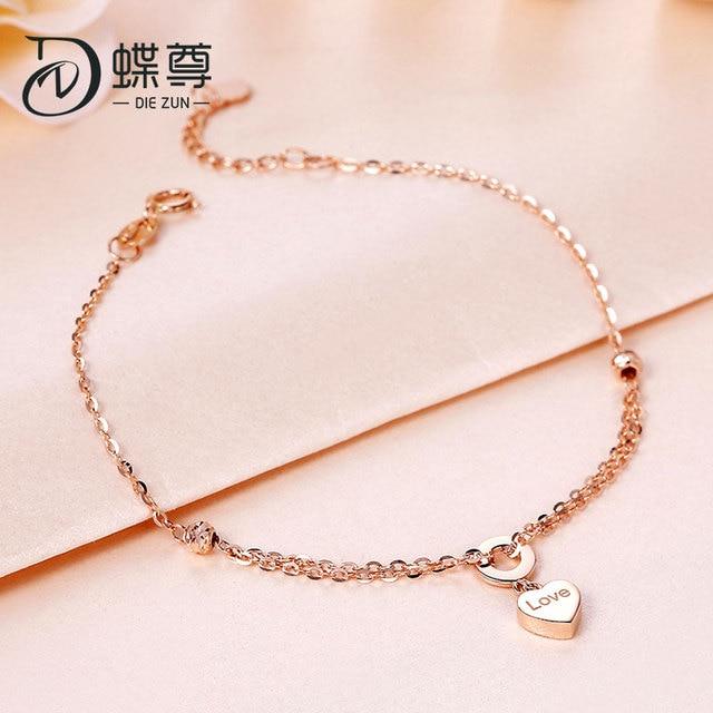 18K Gold Bracelet AU750 Lottery Gold Bracelet Footchain Rose Gold Bracelet Women Love Whisper 4