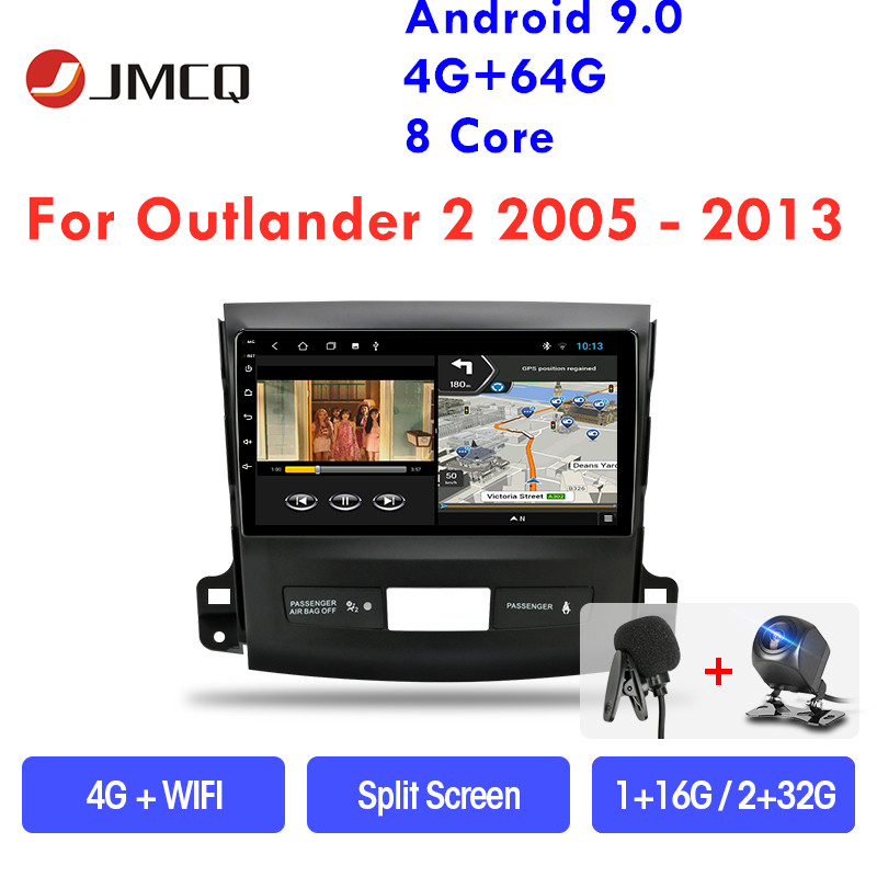 JMCQ Car Radio Android 9.0 for <font><b>Mitsubishi</b></font> <font><b>Outlander</b></font> Xl 2 CW0W 2005-2012 Multimedia Video Player 2 din GPS Stereos Split <font><b>Screen</b></font> image