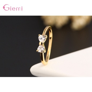 New Fashion Slim Finger Rings 925 Sterling Silver Bow Shape Cubic Zirconia Wedding/Engagement Party Rings Wholesale/Retail 2