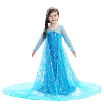 Kids Tulle Birthday Party Dresses Princess Elsa Christmas Evening Dress Tutu Girls Halloween Costume for 2 To 12 Year Children 1