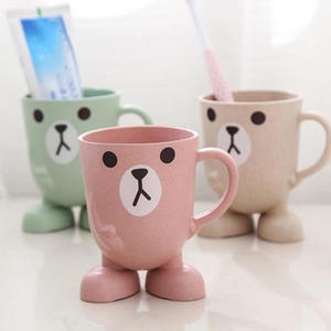 Cup Toothbrush-Holder Bathroom-Accessories Mouthwash Travel Wheat-Straw Cartoon Animal