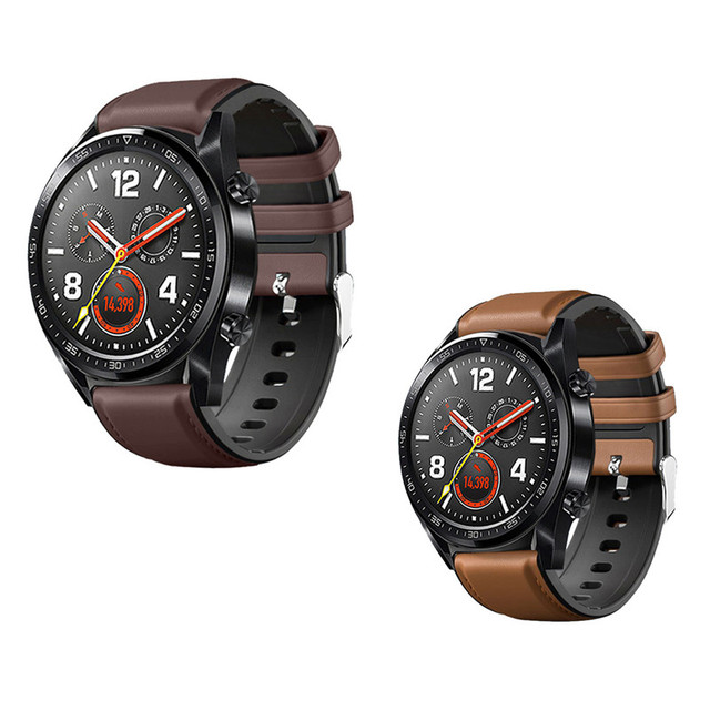Watch Strap for Huawei Watch GT 2 46mm Genuine leather Silicone Watch Bands For huawei Honor Watch Magic 2 Bracelet