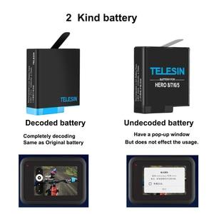 Image 3 - TELESIN 디코딩 리튬 배터리 Gopro 8 7 6 5 및 3 in 1 스토리지 박스 충전기 카드 리더기 go pro hero 8 5 6 7 hero 8 카메라