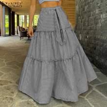5XL Women's Skirts ZANZEA Ladies Ruffle Skirt Ropa De Mujer 2021 Summer Bohemian Bottoms Casual Patchwork Faldas Saia Plus Size