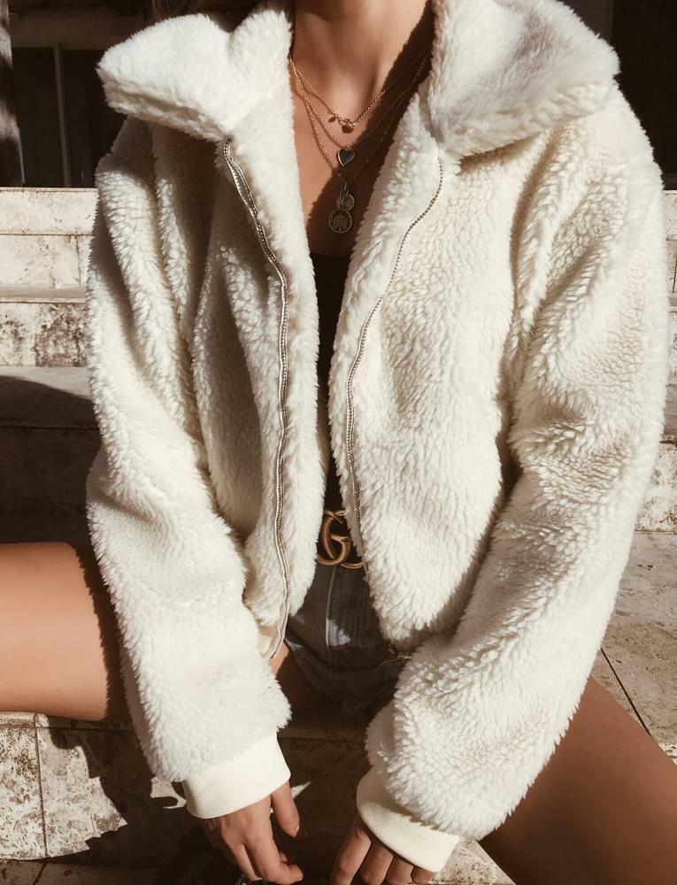2019 Winter Fleece Sweatershirt Sherpa Fleece Hoodies Oversized Long Sleeve Fluffy Autumn Winter Warm Wear Female Overcoat 9