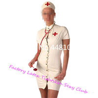 White Nurse Costume with Front Button Fly Latex Dress Women's Latex Rubber Tight Skirts With Cap sexy Cosplay costumes