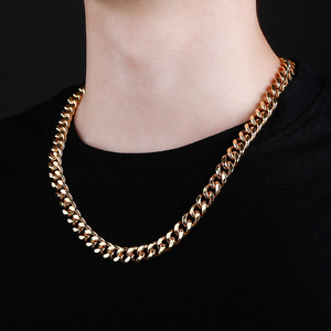 Image 5 - JINAO Gold Cuban Link Chain Necklace Hip Hop Miami Iced Out Cuba Chain with Cubic Zirconia n Jewelry Buckle Best Gift for Men