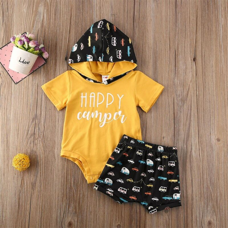 CANIS Summer Newborn Baby Boys Short Sleeve Letter Printed Bodysuit Top Hoodies Pants Shorts Clothes Outfit