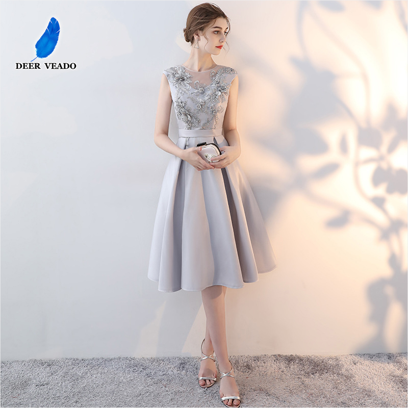DEERVEADO YM304 Elegant A Line O Neck Short   Prom     Dresses   with Appliques Beads Formal   Dress   Evening Party   Dresses     Prom   Gown