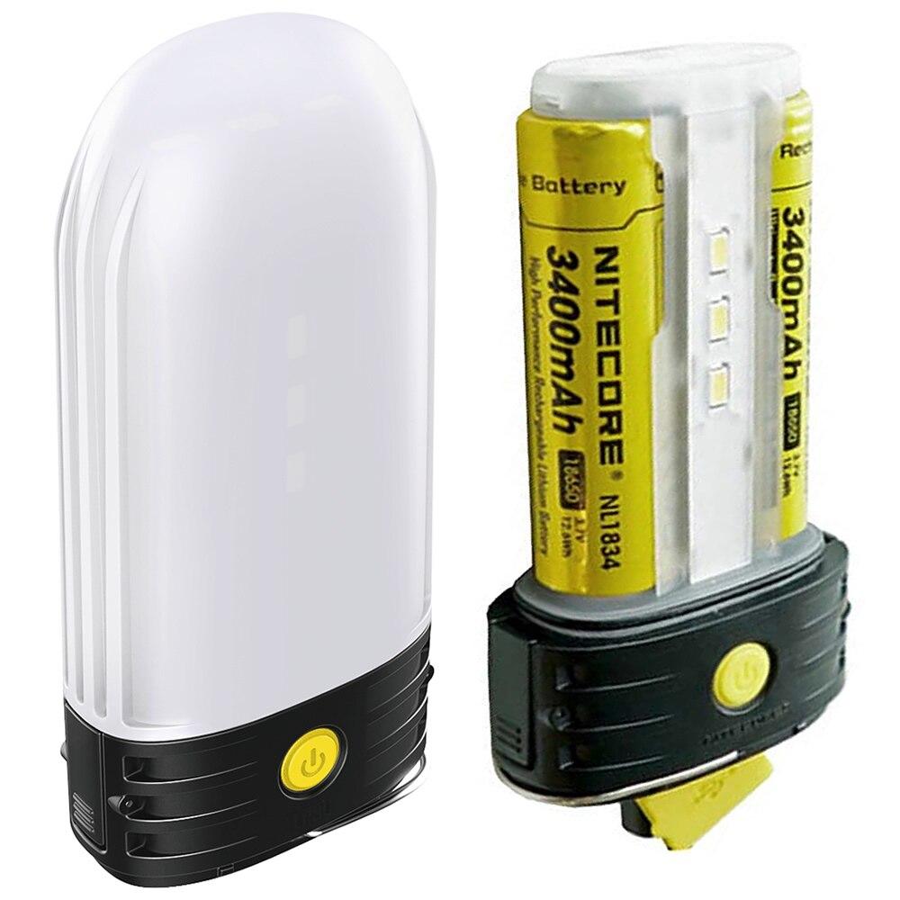 NITECORE LR50 batterie externe extérieure + lanterne de Camping + chargeur de batterie 3in1 9xCRI LEDs 250LMs + 2x3400 mAh 18650 batteries NL1834