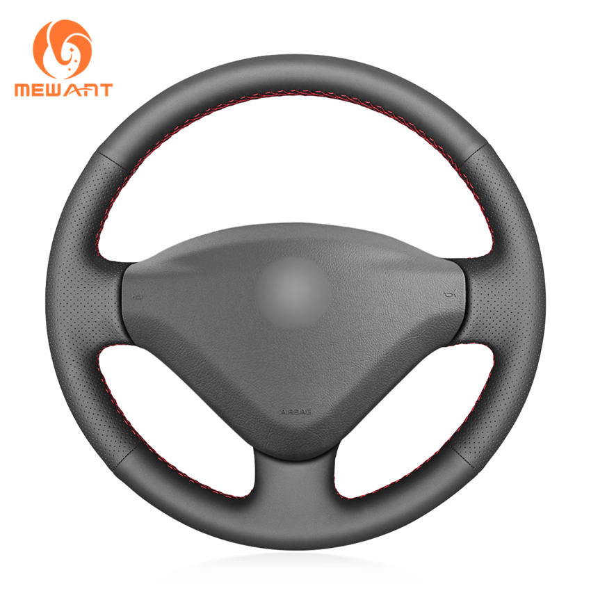Black Artificial Leather Car <font><b>Steering</b></font> <font><b>Wheel</b></font> Cover for <font><b>Peugeot</b></font> <font><b>207</b></font> Expert Partner Citroen Berlingo Jumpy Fiat Scudo Toyota Proace image