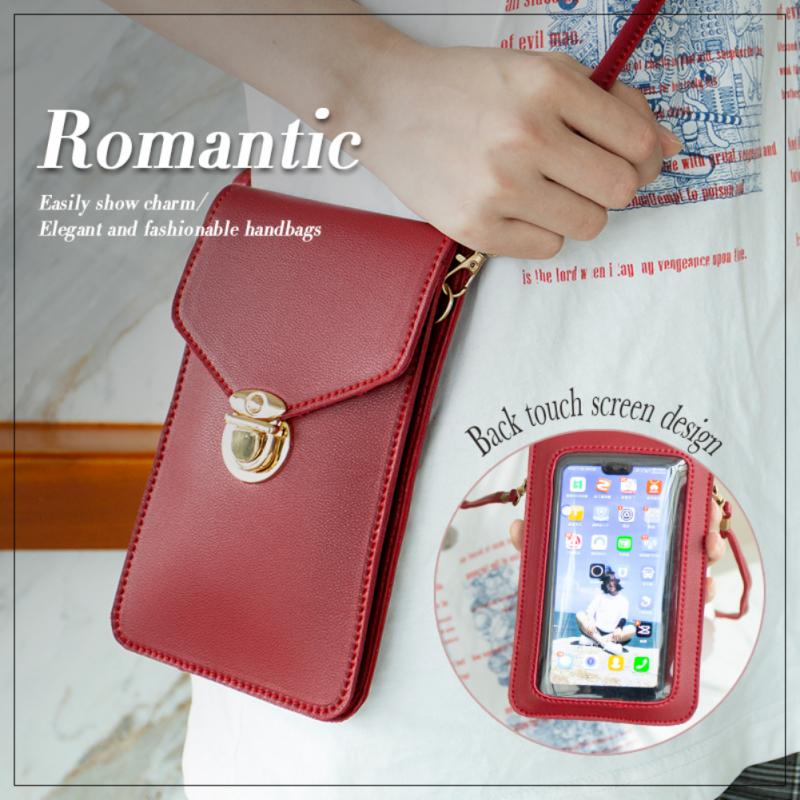 Transparent Touch Screen PU Leder Diaper Bag Cell Phone Pocket Bag Wallet Crossbody Back Pocket Practical Touch Protection