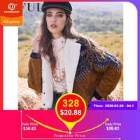 Zaful jaqueta casacos feminino outono primavera vintage outwear túnica dupla breasted tribal impressão falso shearling painel jaqueta de veludo