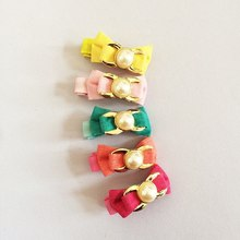 1 Pcs/lot Small Mini Ribbon Bow Hairgrips Sweet Kids Girls Peal Hair Clips Lovely
